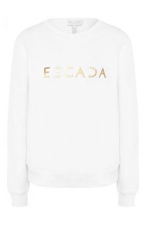 Хлопковый свитшот Escada Sport. Цвет: белый