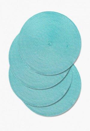 Комплект салфеток сервировочных DeNastia. Цвет: бирюзовый