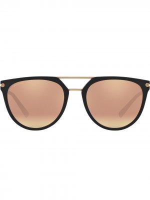 Солнцезащитные очки-авиаторы в круглой оправе Bvlgari. Цвет: черный