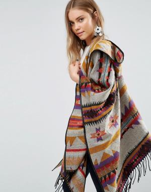 Oversize-пальто с геометрическим принтом Jayley. Цвет: коричневый