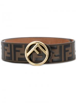 Ремень с логотипом FF Fendi. Цвет: коричневый