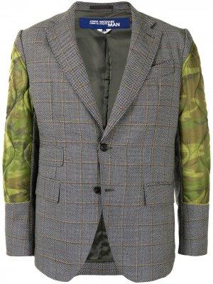 Клетчатый пиджак с дутыми вставками Junya Watanabe MAN. Цвет: серый