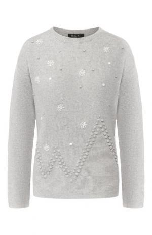 Кашемировый пуловер с круглым вырезом Loro Piana. Цвет: светло-серый