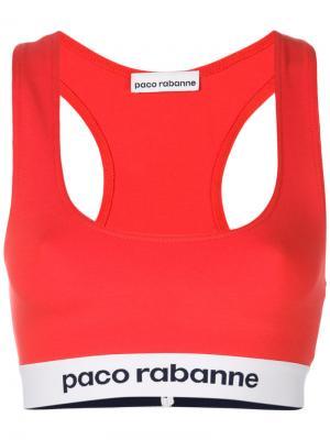 Elasticated waistband cropped top Paco Rabanne. Цвет: красный