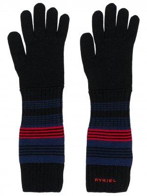 Полосатые перчатки Sonia Rykiel. Цвет: черный
