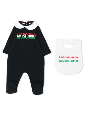 Комплект из пижамы и нагрудника Moschino Kids. Цвет: черный