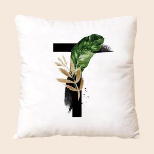 Чехол для подушки без наполнителя листья & с текстовым принтом SHEIN. Цвет: многоцветный