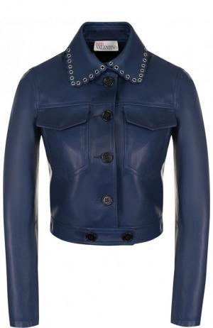 Укороченная кожаная куртка с отложным воротником REDVALENTINO. Цвет: синий