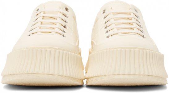 Off-White Leather Platform Sneakers Jil Sander. Цвет: 270 - light