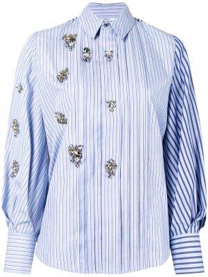 Полосатая рубашка с кристаллами Dice Kayek. Цвет: синий