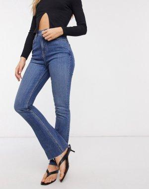 Темные расклешенные джинсы с завышенной талией -Синий ASOS DESIGN
