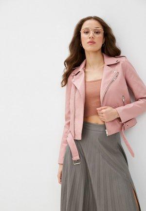 Куртка кожаная Euros Style. Цвет: розовый