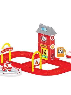 Игровой набор пожарная станция с круговой дорогой DOLU. Цвет: красный