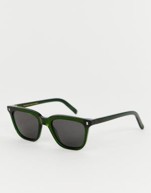 Квадратные солнцезащитные очки в зеленой оправе Robotnik Monokel Eyewear. Цвет: зеленый