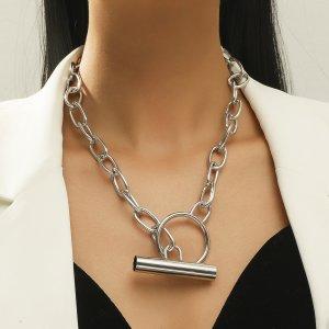 Цепное ожерелье минималистичный SHEIN. Цвет: серебряные