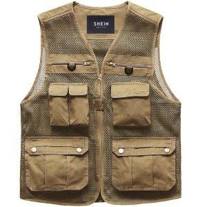 Мужской Жилет-куртка сетчатый вставка с карманом молнией SHEIN. Цвет: хаки