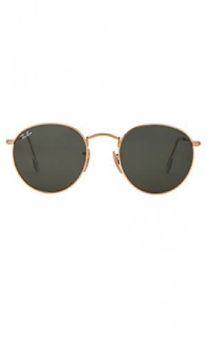Металлические солнцезащитные очки Ray-Ban. Цвет: металлический золотой