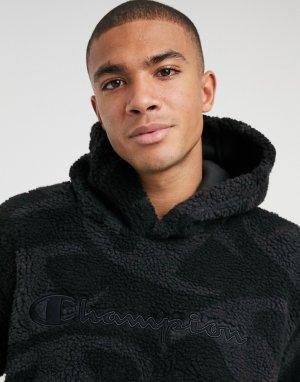 Черный пуловер со сплошным принтом Champion