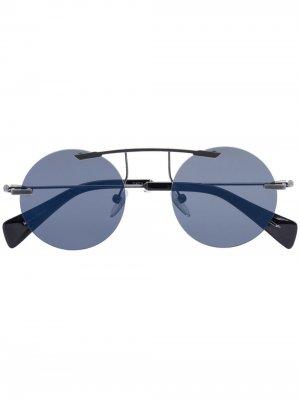 Солнцезащитные очки YY7011 в круглой оправе Yohji Yamamoto. Цвет: черный