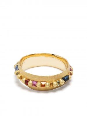 Кольцо из желтого золота с сапфирами Polly Wales. Цвет: золотистый