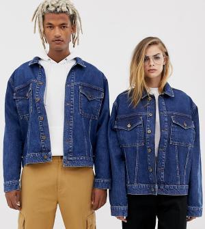 Джинсовая куртка с контрастной строчкой COLLUSION Unisex-Синий