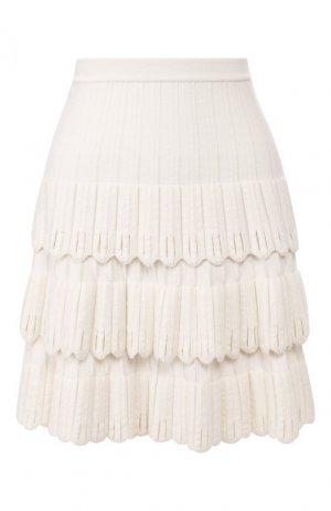 Юбка из смеси шерсти и вискозы Alaia. Цвет: белый