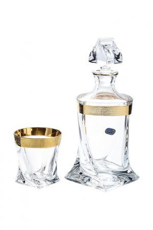 Набор для виски BOHEMIA CRYSTAL. Цвет: прозрачный, золотой