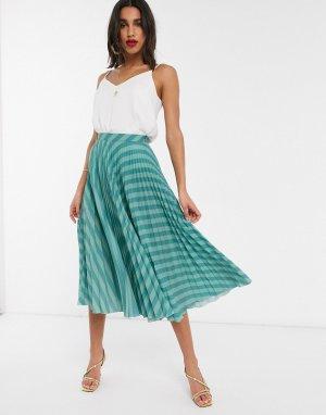 Сине-зеленая плиссированная юбка в полоску -Голубой Closet London
