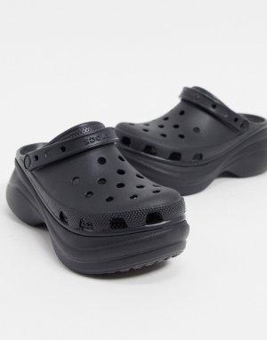 Черные клоги на платформе -Черный Crocs