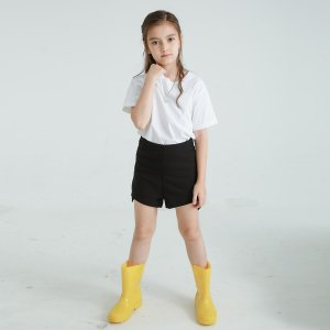 1 пара Однотонные детские резиновые сапоги SHEIN. Цвет: жёлтые