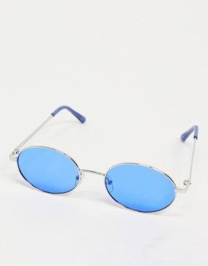 Серебристые круглые солнцезащитные очки с синими стеклами и оправой -Серебристый ASOS DESIGN