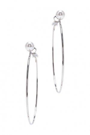 Серебристые серьги-кольца с жемчугом Aqua. Цвет: серебряный