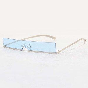 Мужские солнцезащитные очки без оправы SHEIN. Цвет: нежно-голубой