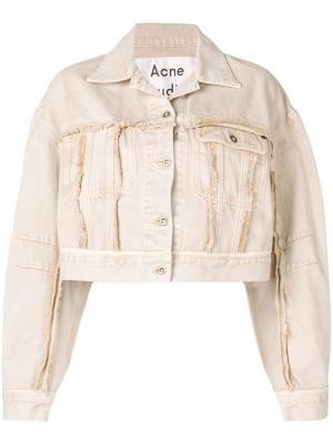 Укороченная джинсовая куртка Acne Studios. Цвет: коричневый