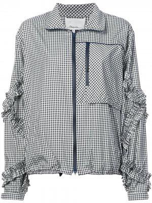 Спортивная куртка в клетку гингем с оборками 3.1 Phillip Lim. Цвет: черный