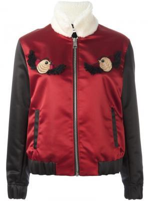 Куртка-бомбер с вышивкой Au Jour Le. Цвет: красный