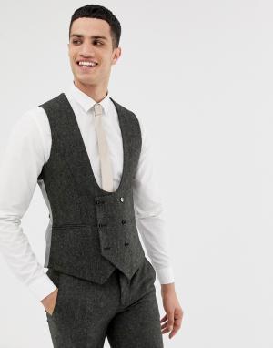 Супероблегающий твидовый темно-серый жилет Twisted Tailor