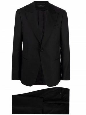 Костюм-двойка с однобортным пиджаком Z Zegna. Цвет: черный