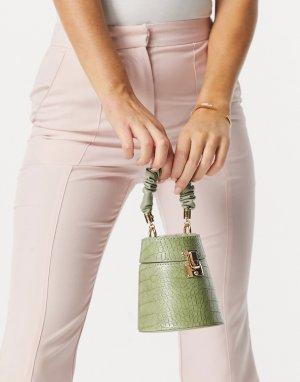 Зеленая сумка с короткой ручкой со сборками и отделкой под кожу крокодила x Molly Mae-Зеленый цвет EGO