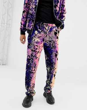 Co-ord slouch fit trousers in sequins ASOS DESIGN. Цвет: розовый