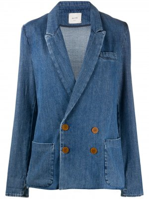 Двубортный джинсовый блейзер Alysi. Цвет: синий