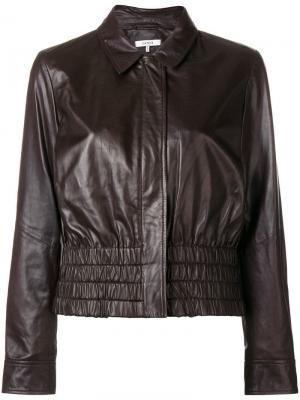 Кожаная куртка Rhinehart Ganni. Цвет: коричневый