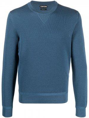 Пуловер с круглым вырезом TOM FORD. Цвет: синий
