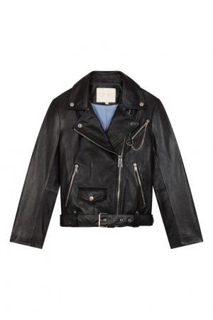 Черная кожаная куртка Maje. Цвет: черный