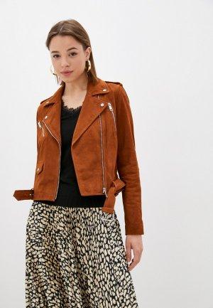 Куртка кожаная Naf. Цвет: коричневый
