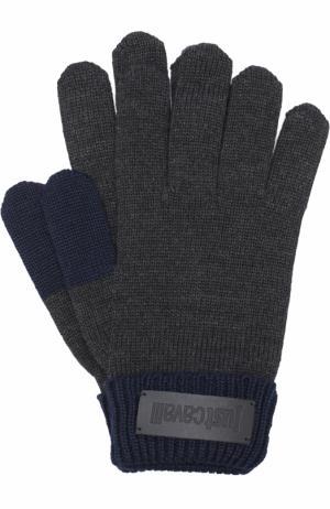 Шерстяные перчатки Just Cavalli. Цвет: серый