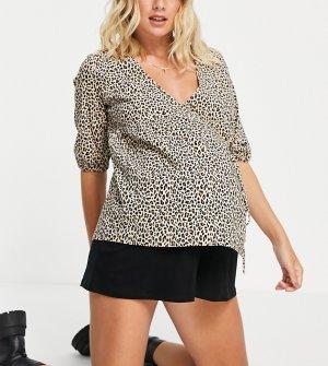 Блузка из бенгалина с леопардовым принтом -Многоцветный Topshop Maternity