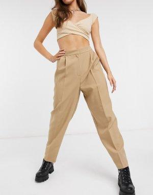 Зауженные брюки цвета мокко -Коричневый ASOS DESIGN