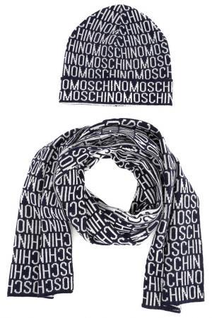 Комплект: шапка, шарф Moschino. Цвет: черный, серый