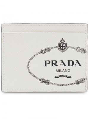 Визитница из кожи Saffiano Prada. Цвет: белый